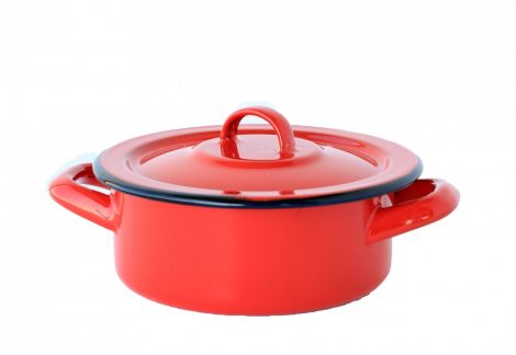 Emaille Topf 14 cm  0,75 L Rot