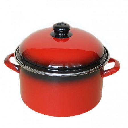 Emaille Topf  24 cm  5,5 L  Rot Schwarz