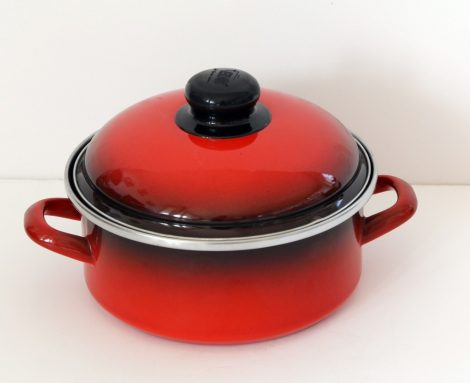 Emaille Topf  18 cm  1,75 L Rot Schwarz