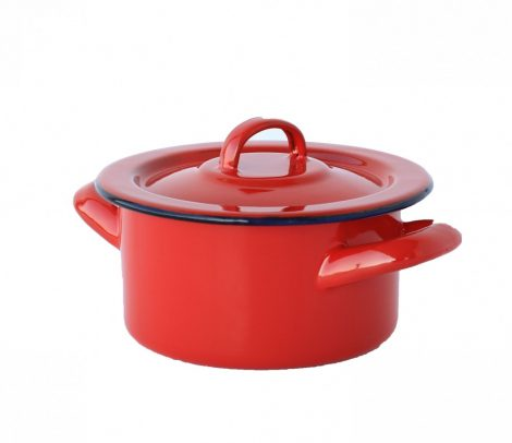 Emaille Topf 12 cm  0,5 L rot