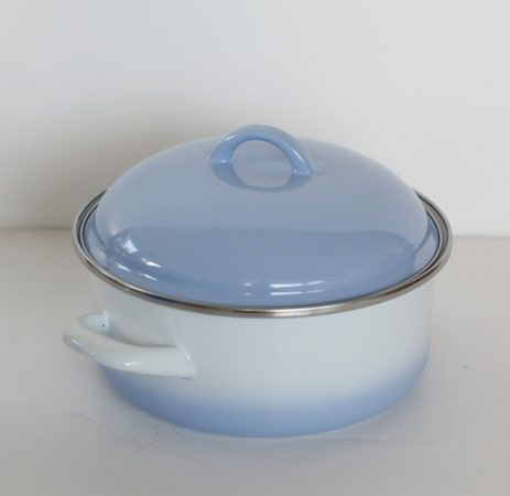 Emaille Topf 20 cm 2,5 L Blau-Weiss