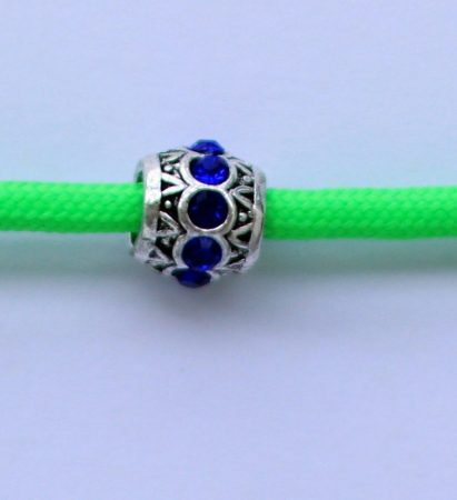 Tibetian Silver Rhinestone Spacer Bead - Blue- Sphere