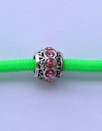 Tibetian Silver Rhinestone Spacer Bead - Rose- Sphere