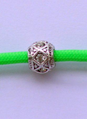 Tibetian Silver Rhinestone Spacer Bead - White- Rhombus